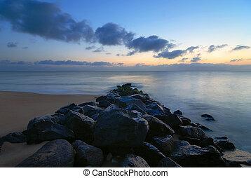 Blue sunrise on the seawall
