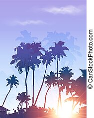 Blue sunrise palms silhouettes poster background