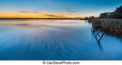 Blue Sunset over Lake Schildmeer, Netherlands