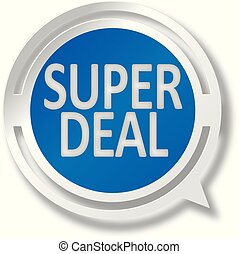 blue super deal white and red speech bubble web icon on blue background
