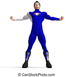 Blue Super Hero - Mighty Super Hero saving the world with...