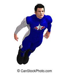 Blue Super Hero - Mighty Super Hero saving the world with ...