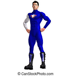 Blue Super Hero - Mighty Super Hero saving the world with...