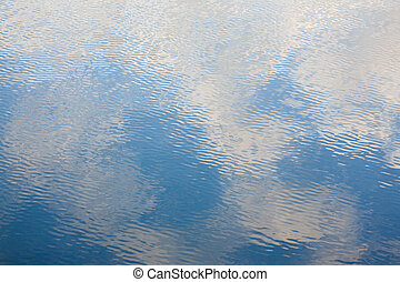 Blue surface of lake in summer day