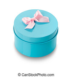 Blue surprise gift box with pink ribbon isolate