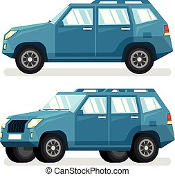Blue SUV car in flat style - detailed vector illustration. A...