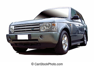 blue suv -  blue suv with clipping path