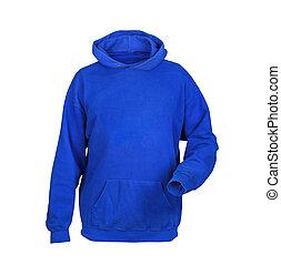 blue sweatshirt with hood isolated on white background