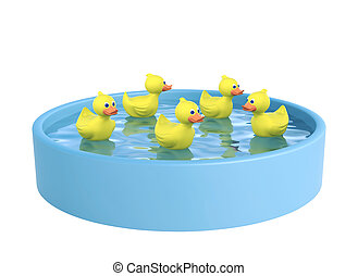 Blue swimming pool and five rubber ducks, with clipping path