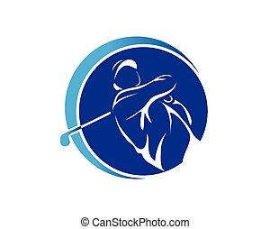 Blue Swing Golf Symbol - Modern Golf Logo - Blue Swing Golf...