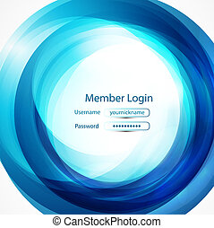 Blue swirl login page - Abstract vector background with...