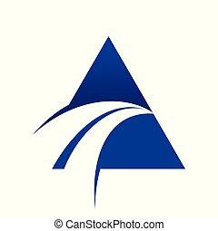 Blue Swoosh Cross Unique Triangle Symbol Logo Design