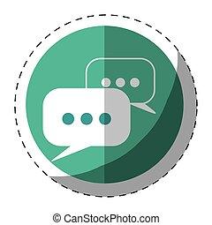 Blue symbol bubbles button icon