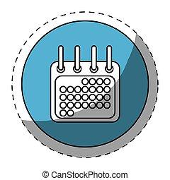 Blue symbol calendar button icon