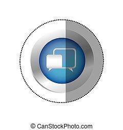 blue symbol chat bubbles icon