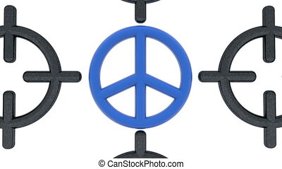 Blue symbol of peace between sniper rifle scope on white...