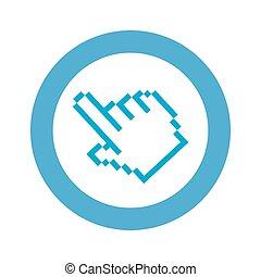 blue symbol pixel hand cursor icon