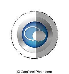 blue symbol round chat bubbles icon