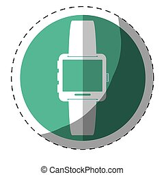 Blue symbol smartwatch button icon