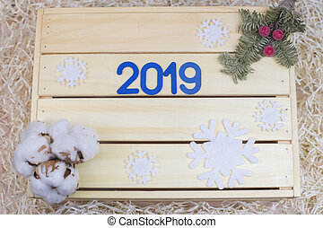 Blue symbol with number 2019 and new year decor