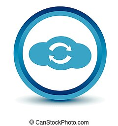 Blue synchronization cloud icon
