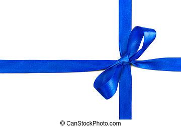 blue szalag, és, íj, elszigetelt, white, háttér
