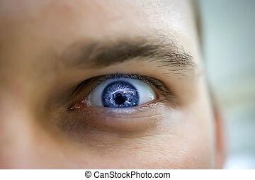 blue szem, mérges, bús, látszó, súlyos, ember