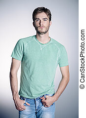 blue t-shirt and jeans