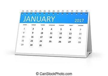 blue table calendar 2017 january - A blue table calendar for...