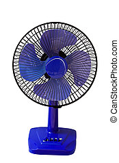 blue table fan isolated on white