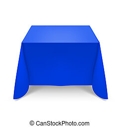 Blue tablecloth. Illustration on white background for design