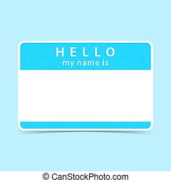 Blue tag sticker HELLO my name is