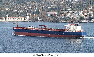 Tanker Ship - Blue Tanker Ship Passing in Bosphorus Strait