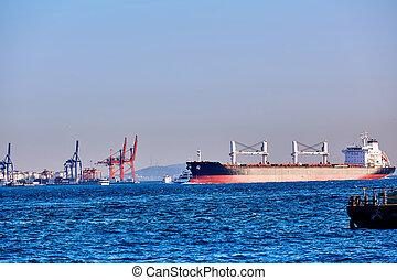 Blue Tanker Ship Passing in Bosphorus Strait