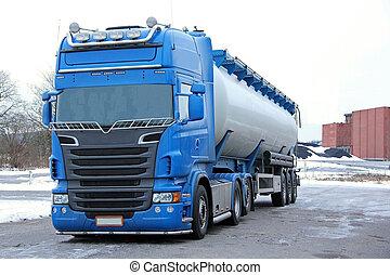 Blue Tanker Truck