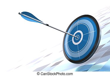 blue target and arrow over a modern background image is...