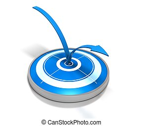 blue target and one arrow bouncing on it - symbol of bounce...