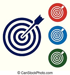 Blue Target with arrow icon isolated on white background. Dart board sign. Archery board icon. Dartboard sign. Business goal concept. Vector Illustration