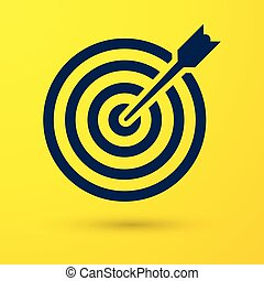 Blue Target with arrow icon isolated on yellow background. Dart board sign. Archery board icon. Dartboard sign. Business goal concept. Vector Illustration