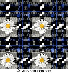 Blue tartan plaid and daisy flowers pattern on checkered background for textile