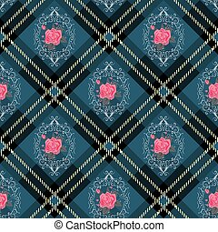 Blue tartan plaid and flowers pattern on checkered background for textile