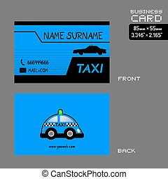 blue taxi driver business card art