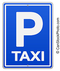 Blue Taxi Sign and Parking