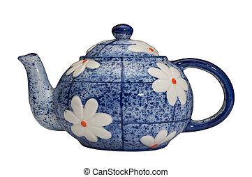 blue teapot over white background