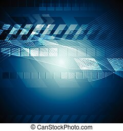 Blue tech background with wavy lines