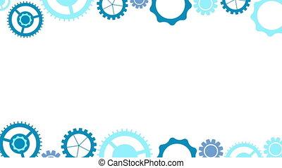 Blue tech gears mechanism video animation