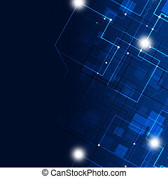 Abstract Technology lines and lights dark blue background