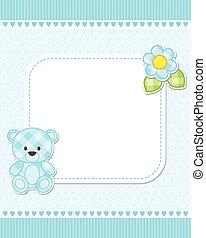 Blue teddy bear card