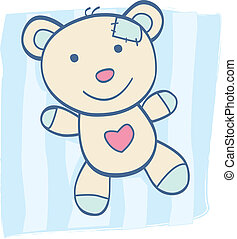 Children's Toy. Bear with heart, can be symbol of Love. Art Vector Illustration.