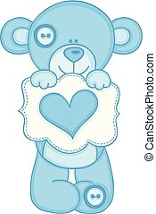Blue teddy bear holding message with heart